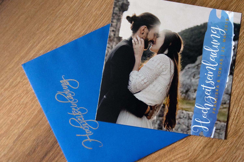 Hochzeitseinladung Cover blau Wasserfarben / gold