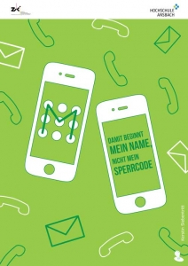 IT-Sicherheit durch Security Awareness Plakat Sperrcode Smartphone