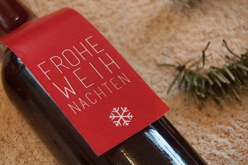 Etikett Weinflasche Weihnachten