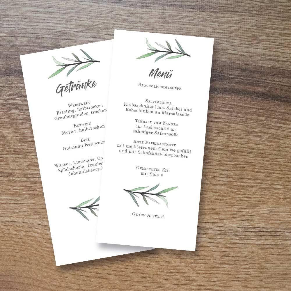 Menükarte Hochzeit: Green Dream