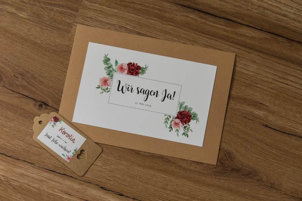 Hochzeitspapeterie Blumen rot/rosa