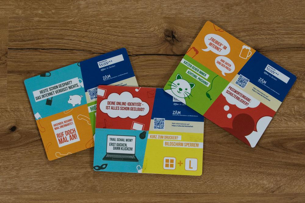 Bunte Mousepads mit unterschiedlichen Motiven zum Datenschutz Grafikdesign