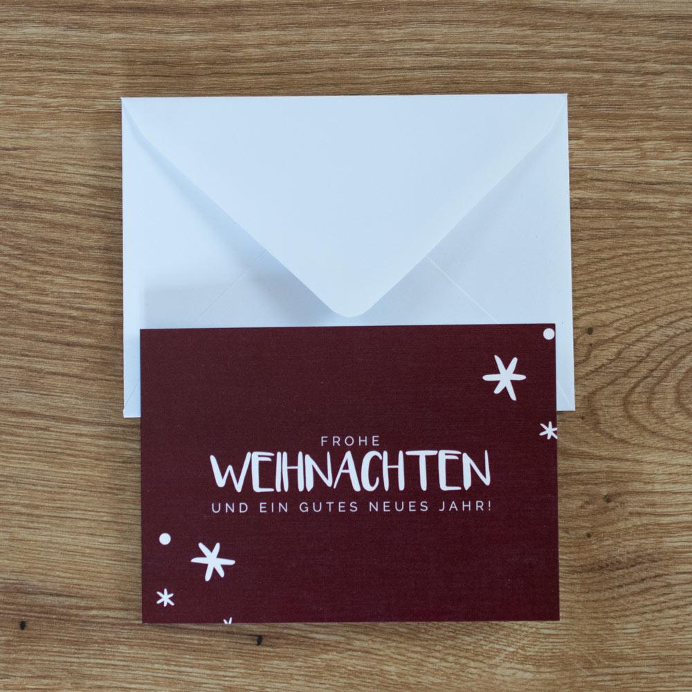 Weihnachtskarte dunkelrot